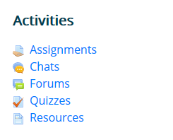 Activities Block inside Moodle courses