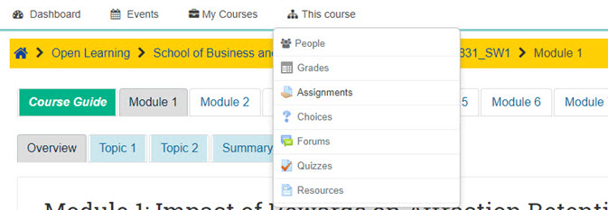 Screen shot of Moodle pull down menu